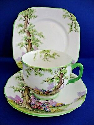 Royal Albert Crown China Lawleys Vintage Retro Greenwood Tree Trio 8355