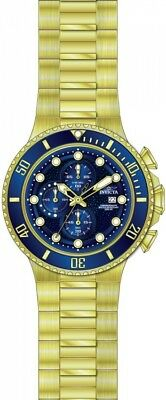 Invicta Men's Pro Diver Blue Dial Yellow Gold Steel Chronograph Dive Watch 25297