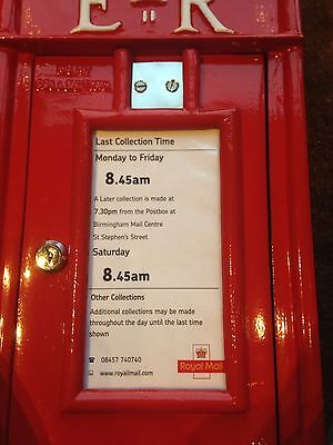 Royal Mail, cast iron post box collection information door insert