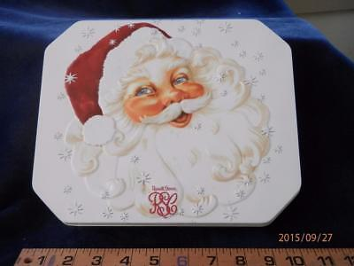 Smiling Santa  -  Russell Stover - Decorative  Christmas  Tin Can - Hinged Lid