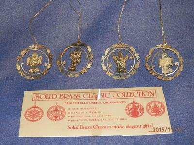 Solid Brass Classic - Set Of 4 - Angel Theme -  Christmas  Tree Ornaments