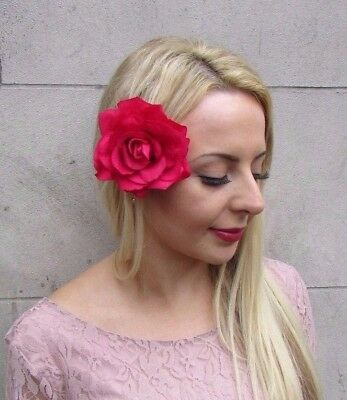 Large Hot Pink Rose Flower Hair Clip Fascinator Bridesmaid 1950s Rockabilly 4057