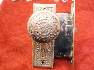 Awesome Vtg Antique Solid Brass Decorative Door Handle, Panels & Lock Mechanism