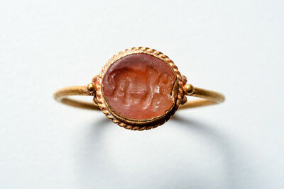 Ancient Roman Gold Finger Ring with Carnelian Intaglio Ca. 2nd - 3rd century A.D