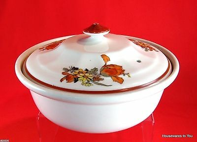 Alliance Vitrified China AVCO Covered Casserole Baking Dish Floral Lid 1-1/4 Qt
