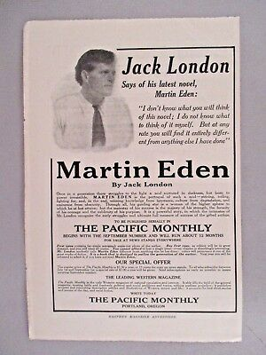 """""""Martin Eden"""" Jack London PRINT AD - 1908 ~~ The Pacific Monthly"""