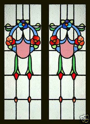PAIR Antique Stained Glass Windows VICTORIAN BEAUTIES