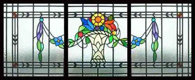 3 Antique Victorian Stained Glass Windows VASE FLOWERS