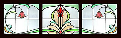 3 Antique Stained Glass Windows FLORAL ART DECO Vitraux