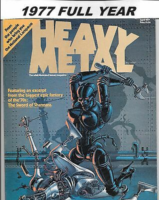 Heavy Metal Magazine 1977 Lot April May June July Aug Sept Oct Nov Dec FN to VF+