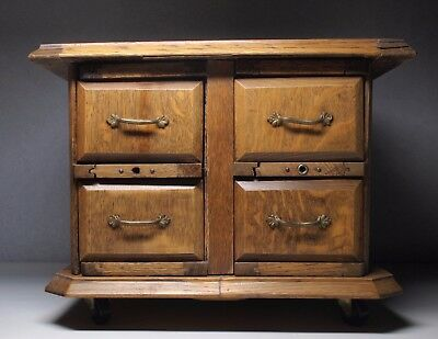 Antique Oak 4 Draw Sewing Cabinet Drawers