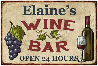 Elaine's Wine Bar Rustic Look Chic Sign Home Décor Gift 12x18 Sign M2182343