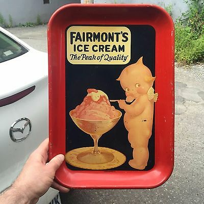 "VINTAGE c.1940 COLORFUL KEWPIE ""FAIRMONT'S ICE CREAM"" SODA FOUNTAIN SERVING TRAY"