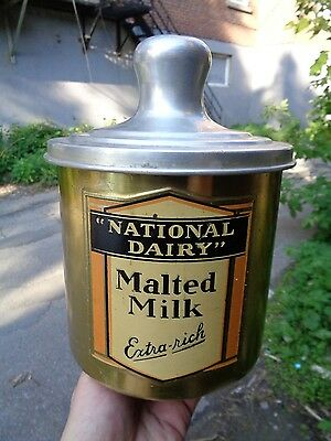 """Vintage 100% Original """"gold Wash"""" National Dairy Malted Milk Fountain Container"""