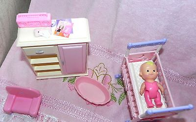 Barbie Baby Nursery Set Toy Furniture  Dresser, Chair , Bath & Radio
