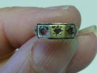 Victorian Aestheic Gold Filled Baby Ring with 3 Red Stones ADORABLE