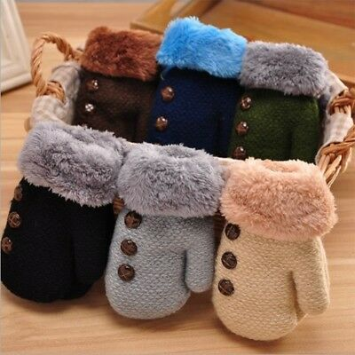 New Toddlers Girl/Boy Baby Kids knitting Gloves Mittens Snow Flower Winter Warm