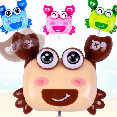New Lovely Plastic Cartoon Crab Clockwork Wind Up Baby Kids Toy Gift Random