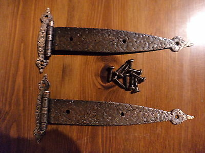 """One Pair Vintage Rustic Hammered Copper Finish 6"""" Strap Hinges"""