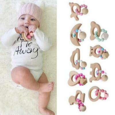 Natural Wooden Crochet Baby Teether Teething Bracelet Ring Rattle Toy Gift Q