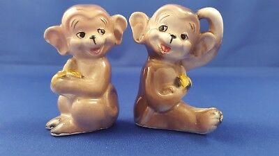Rare Vtg Anthropomorphic Monkey W/bananas Salt Pepper Shakers Japan Cork Stopper