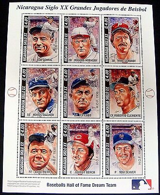Baseball Stamps Sheet Of 9 Nicaragua Babe Ruth Johnny Bench Lou Gehrig Ty Cobb
