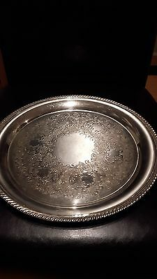 Primrose Plate serving platter EP COPPER STAMPED  B M MOUNTS 1120 SILVER