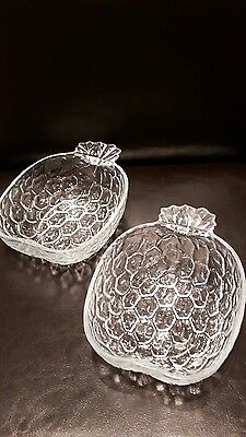 """pressed glass frosted Pineapple set of 2 clear glass bowls marked 6"""" x 4.5"""""""