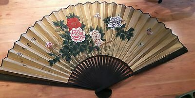 Large Vintage chinese wall fan 3.5 feet x 5 feet across gold hand painted black