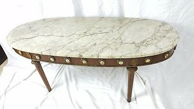 Marble Top Mid-century Neo-classical Coffee Table Painted Medallions Surround