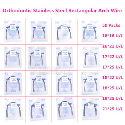50 Packs Dental Orthodontic Stainless Steel Rectangular Arch Wires Natural Form