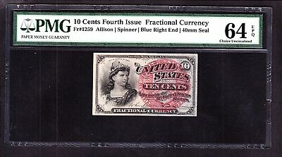 US 10c Fractional Currency 4th Issue FR 1259 PMG 64 EPQ V Ch CU
