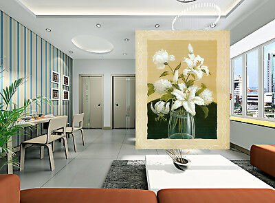 3D White Lily Roses 87 Wall Paper Murals Wall Print Wall Wallpaper Mural AU Kyra