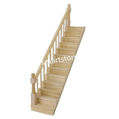 1:12 Staircase Stair Stringer Step Wooden With Left Handrail Dollhouse Furniture