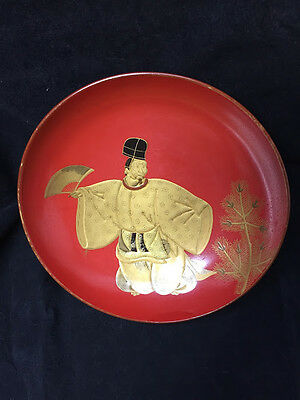 Antique Japanese Lacquered wooden Large Sake Cup, MAKIE