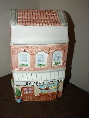 Vintage OCI Collectible Ceramic Cookie Jar Canister Bakery House Shaped
