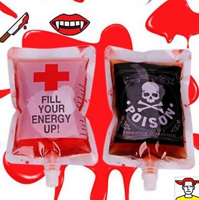 2 Pcs Halloween Pouch Props Reusable Blood Energy Vampire Drink Bag 300ML Party