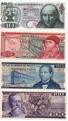 UNCIRCULATED MEXICO SET OF 4 BANKNOTES LOT 70'S 80'S 10 20 50 100 pesos UNC
