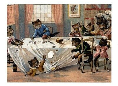 fun modern cat postcard Thompson dressed cats breakfast table chaos
