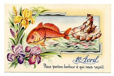 vintage cat postcard April 1st tabby cat rides shell pulled by big fish