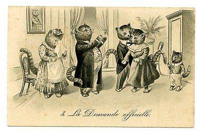 vintage cat postcard dressed cats couple hotel lobby porters luggage