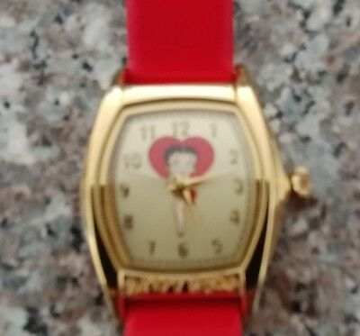 Rare Valdawn KFS 2003 Red Band Tanque Style Betty Boop Character Watch & Tin
