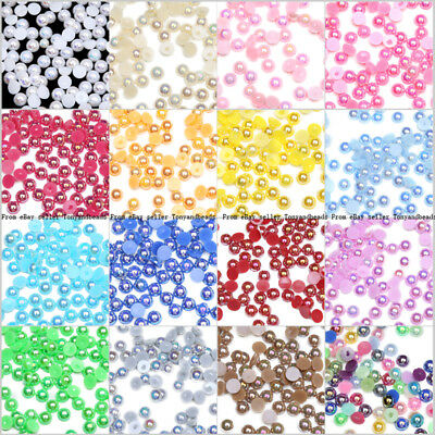 New DIY 4mm 6mm 8mm Half Round Pearl Loose Acrylic Beads For Jewelry Making