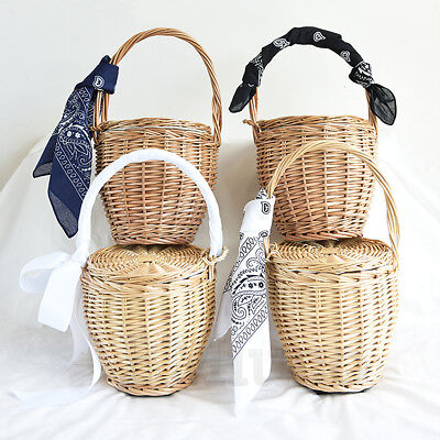 Fashion Romantic Handmade Wicker Bag With Lid Bamboo Basket Straw Woven Handbags