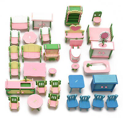1 Set 3D Puzzle house Doll Household Mini wooden Simulation Furniture