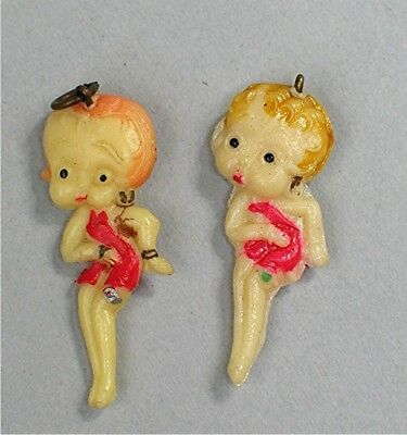 2 Vintage Betty Boop Charms --- Miniature Celluliod Children's  Charms