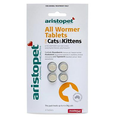 !! Clearance Sale !!  Aristopet All Wormer Tabs Cat/kitten Up To 5 Kg 4 Pack