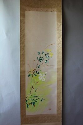 """Japanese hanging scroll Handpainted on Paper  """" Flower """"   z8282"""