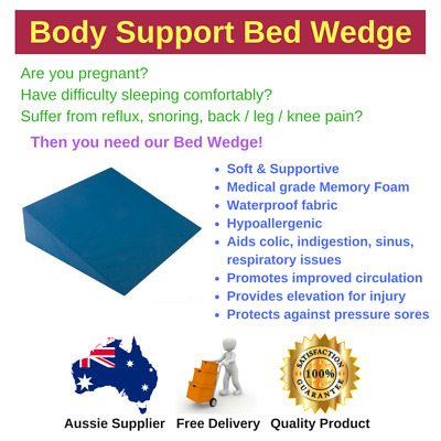 Bed Wedge for Pregnancy, Reflux, Snoring, Back/Knee Pain, Memory Foam, Elevation