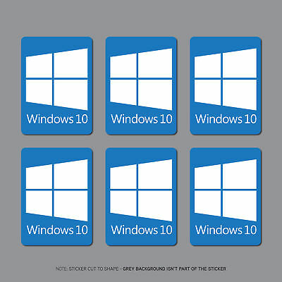 6 x Windows 10 Sticker Decal PC Laptop Notebook - 22mm x 16mm - SKU2691